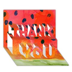 Abstract Watermelon Thank You 3d Greeting Card (7x5) by DanaeStudio