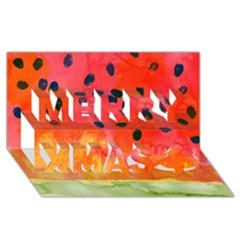 Abstract Watermelon Merry Xmas 3d Greeting Card (8x4) by DanaeStudio