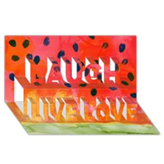Abstract Watermelon Laugh Live Love 3d Greeting Card (8x4) by DanaeStudio