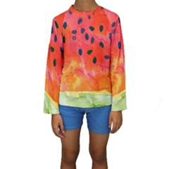 Abstract Watermelon Kids  Long Sleeve Swimwear by DanaeStudio