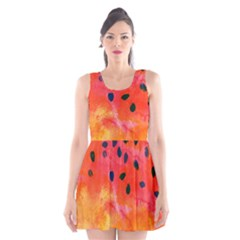 Abstract Watermelon Scoop Neck Skater Dress by DanaeStudio