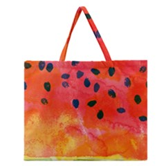 Abstract Watermelon Zipper Large Tote Bag by DanaeStudio
