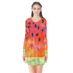 Abstract Watermelon Flare Dress by DanaeStudio