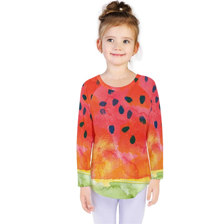 Abstract Watermelon Kids  Long Sleeve Tee
