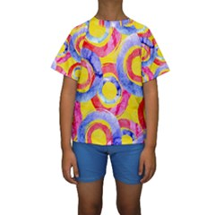 Blue And Pink Dream Kids  Short Sleeve Swimwear by DanaeStudio