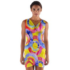 Blue And Pink Dream Wrap Front Bodycon Dress by DanaeStudio