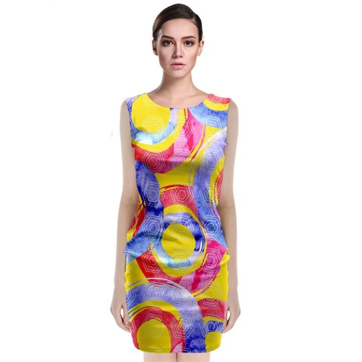 Blue And Pink Dream Classic Sleeveless Midi Dress