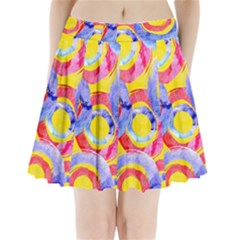 Blue And Pink Dream Pleated Mini Skirt by DanaeStudio