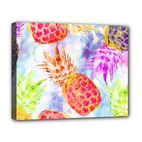 Colorful Pineapples Over A Blue Background Deluxe Canvas 20  X 16   by DanaeStudio
