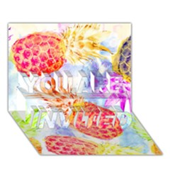 Colorful Pineapples Over A Blue Background You Are Invited 3d Greeting Card (7x5) by DanaeStudio
