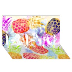 Colorful Pineapples Over A Blue Background Party 3d Greeting Card (8x4) by DanaeStudio