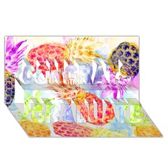 Colorful Pineapples Over A Blue Background Congrats Graduate 3d Greeting Card (8x4) by DanaeStudio