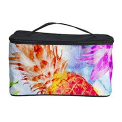 Colorful Pineapples Over A Blue Background Cosmetic Storage Case by DanaeStudio