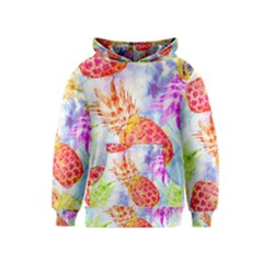 Colorful Pineapples Over A Blue Background Kids  Pullover Hoodie by DanaeStudio