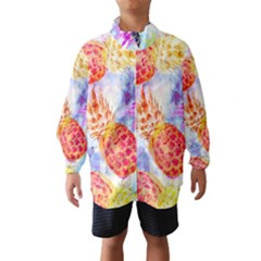 Colorful Pineapples Over A Blue Background Wind Breaker (kids)