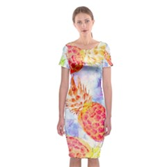 Colorful Pineapples Over A Blue Background Classic Short Sleeve Midi Dress by DanaeStudio