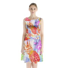 Colorful Pineapples Over A Blue Background Sleeveless Chiffon Waist Tie Dress by DanaeStudio