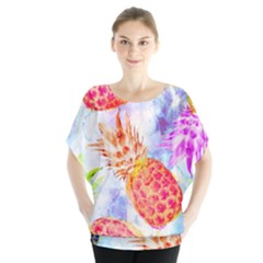 Colorful Pineapples Over A Blue Background Blouse by DanaeStudio
