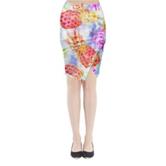 Colorful Pineapples Over A Blue Background Midi Wrap Pencil Skirt by DanaeStudio