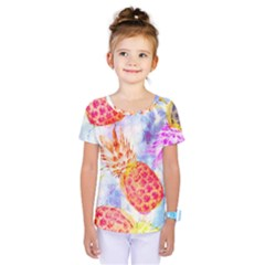 Colorful Pineapples Over A Blue Background Kids  One Piece Tee by DanaeStudio