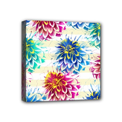 Colorful Dahlias Mini Canvas 4  x 4
