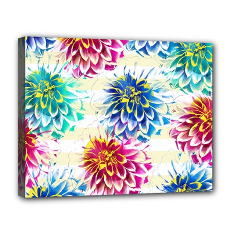 Colorful Dahlias Canvas 14  x 11
