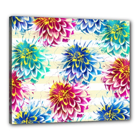 Colorful Dahlias Canvas 24  x 20