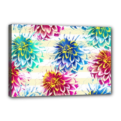 Colorful Dahlias Canvas 18  x 12