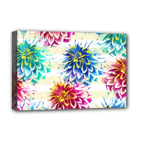 Colorful Dahlias Deluxe Canvas 18  X 12   by DanaeStudio