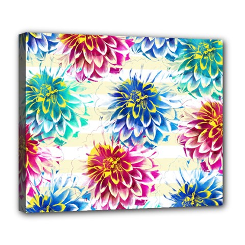 Colorful Dahlias Deluxe Canvas 24  x 20