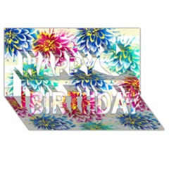 Colorful Dahlias Happy Birthday 3d Greeting Card (8x4) by DanaeStudio