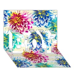 Colorful Dahlias BOY 3D Greeting Card (7x5)