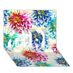 Colorful Dahlias GIRL 3D Greeting Card (7x5)