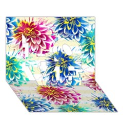 Colorful Dahlias LOVE 3D Greeting Card (7x5)