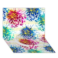 Colorful Dahlias Circle Bottom 3D Greeting Card (7x5)