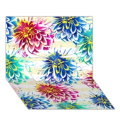 Colorful Dahlias Clover 3D Greeting Card (7x5)