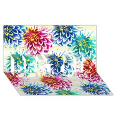 Colorful Dahlias BEST SIS 3D Greeting Card (8x4)