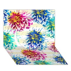 Colorful Dahlias Circle 3d Greeting Card (7x5) by DanaeStudio
