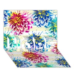 Colorful Dahlias HOPE 3D Greeting Card (7x5)