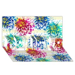 Colorful Dahlias BELIEVE 3D Greeting Card (8x4)