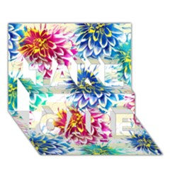 Colorful Dahlias TAKE CARE 3D Greeting Card (7x5)