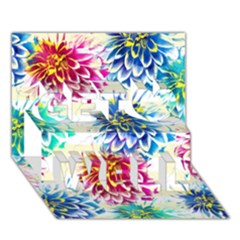 Colorful Dahlias Get Well 3D Greeting Card (7x5)