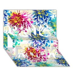 Colorful Dahlias You Rock 3D Greeting Card (7x5)