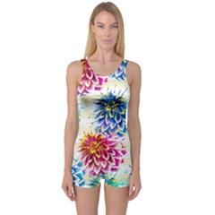 Colorful Dahlias One Piece Boyleg Swimsuit