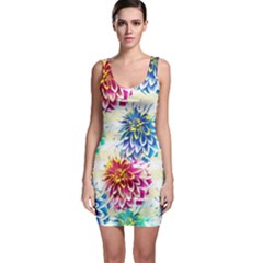 Colorful Dahlias Sleeveless Bodycon Dress