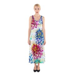 Colorful Dahlias Sleeveless Maxi Dress