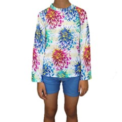 Colorful Dahlias Kids  Long Sleeve Swimwear