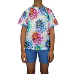 Colorful Dahlias Kids  Short Sleeve Swimwear