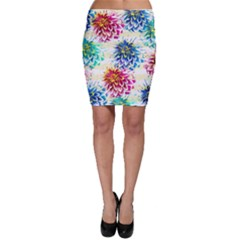 Colorful Dahlias Bodycon Skirt
