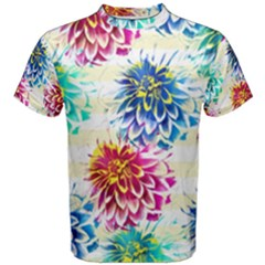 Colorful Dahlias Men s Cotton Tee